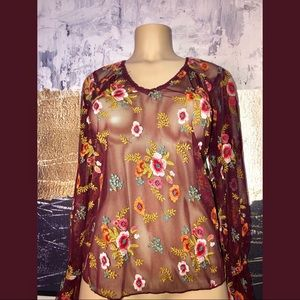 ANTHROPOLOGIE rose long sleeves blouse size xs
